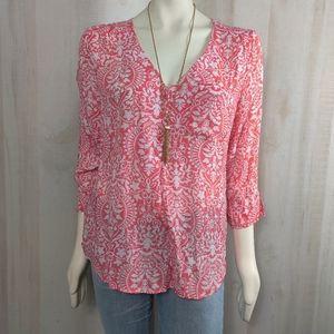 Fred David Nordstrom coral crepe blouse